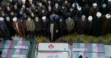 Iranian Supreme Leader Ayatollah Ali Khamenei and Iranian President Hassan Rouhani attend Soleimani's funeral ceremony
